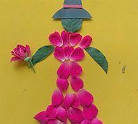 树叶和花瓣拼贴穿花裙子的姑娘