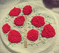 红艳艳的树手工刺绣教程