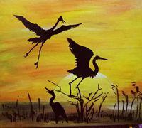 优美恬静的晨光装饰画手绘教程