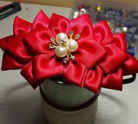 六瓣花的做法 缎带花发箍制作教程