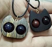 眼珠可以活动的小猫吊坠制作方法