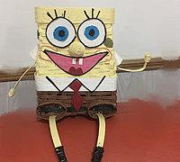纸藤编织可爱海绵宝宝 可以做收纳篮使用