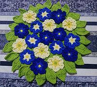 樱草花形毛线坐垫的编织方法