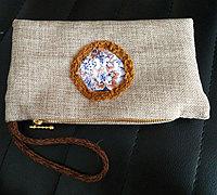 用麻布缝一个简约复古风手拿包