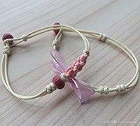 萌妹系中国结粉色花朵手链编法教程