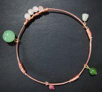 铜线和串珠制作清新款绕线小手镯
