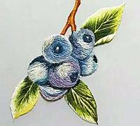 刺绣团扇教程 蓝莓的绣法