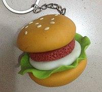软陶制作汉堡钥匙挂件