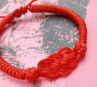 复古风红绳手链DIY编法教程