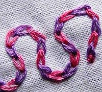 刺绣基础针法(20)之格仔链式线迹绣