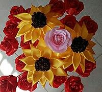 丝带花束怎么做 丝带太阳花的做法
