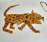 用树叶拼贴只豹子 树叶拼贴画教程