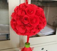喜庆的大红色花球制作教程