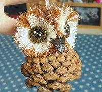 松塔制作猫头鹰挂件的方法