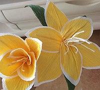 皱纹纸制作双色百合花教程