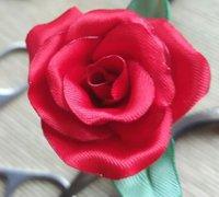 缎带烧花之红色玫瑰花