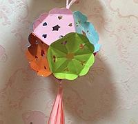 折纸花球流苏灯笼的做法
