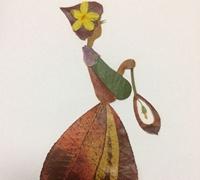 树叶粘贴画-美丽的姑娘