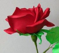 缎带烧花-玫瑰花的制作方法